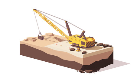 Vector low poly dragline excavator 免版税图像 - 90215570