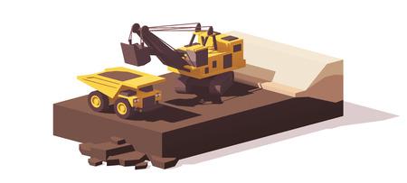 Vector laag poly power schop en trek vrachtwagen