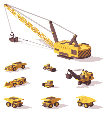 Vector low poly mining machines Stock fotó - 90589314