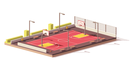 Vector low poly basketball court 일러스트