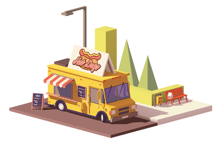 Vector low poly hot dog food truck