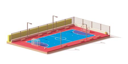 Vector laag poly zaalvoetbalveld