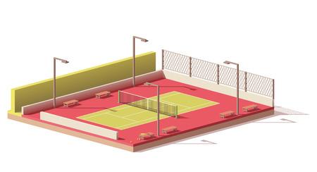 Vector laag poly tennisbaan