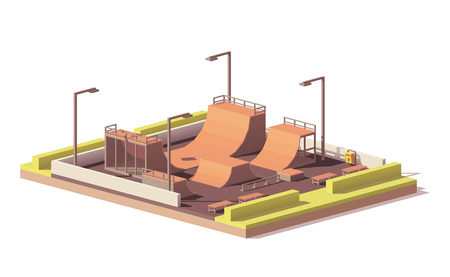 low poly skate park