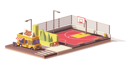 Vector low poly food truck and basketball court
