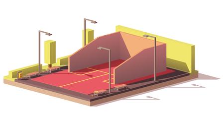 Vector low poly squash court Illustration