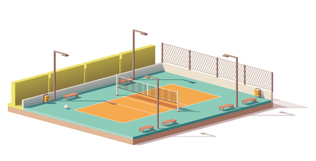 A Vector low poly volleyball court Stock Illustratie