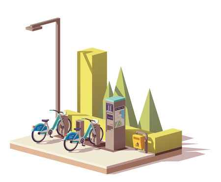 Een Vector low poly fiets sharing systeem Stock Illustratie