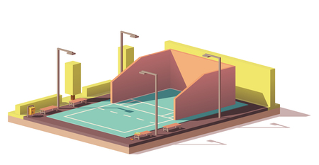 Vector low poly racquetball court Vectores