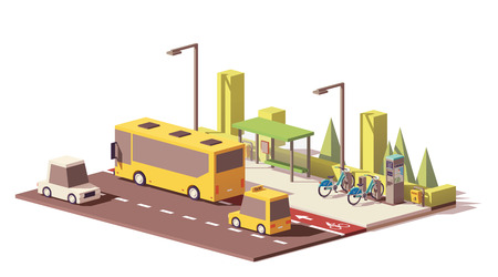 Wektor low poly nowoczesny transport publiczny