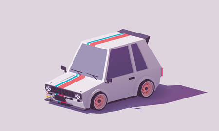 Vector low poly hot hatch Illustration