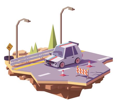 Vector laag poly heet broedsel op de weg Stock Illustratie