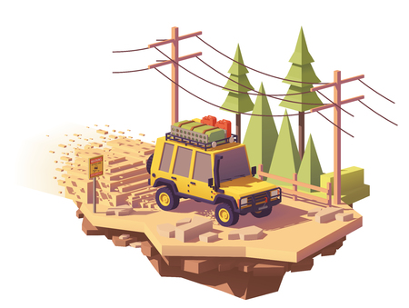 Vector low poly off-road 4x4 SUV car with roof rack and offroading equipment rushes with dust plume
