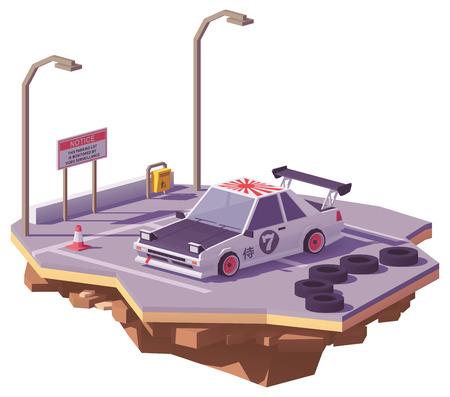 Vector laag poly klassieke Japanse driftauto op het autoparkeerterrein.