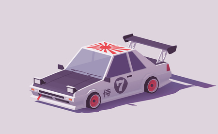 Vector low poly classic Japanese drift car. Illustration