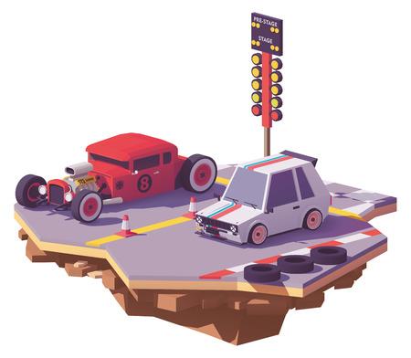 핫로드 자동차와 레이싱 트랙의 핫 해치백 사이의 벡터 낮은 폴리 드래그 경주 일러스트