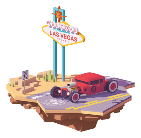 Vector low poly classic American hot rod car on the highway near Las Vegas