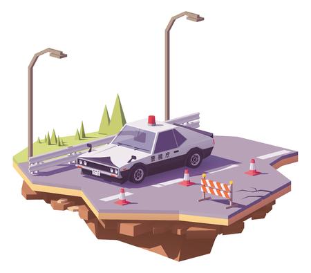 벡터 낮은 폴 리 클래식 일본 경찰 차 고속도로. 일러스트