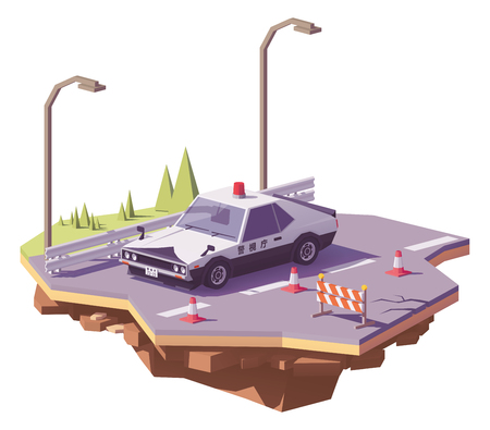 Vector low poly classic Japanese police car on the highway. Illustration