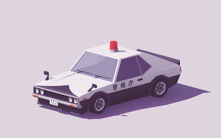 Vector low poly classic Japanese police car. Illustration