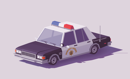 Vector low poly classic American police car on the highway. Иллюстрация