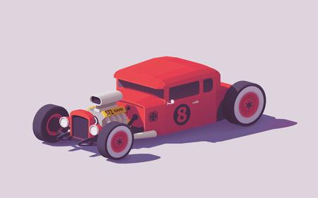 벡터 낮은 폴리 클래식 미국의 핫로드 자동차