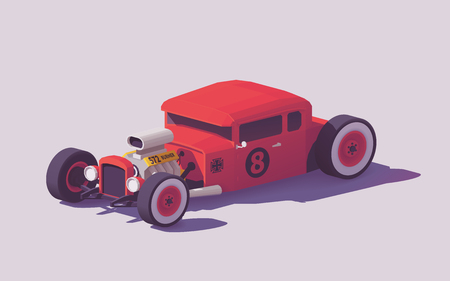 Vector low poly classic American hot rod car Illustration