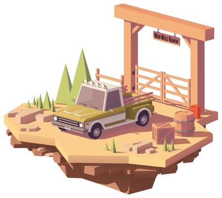 牧場の近くの低ピックアップトラック。  イラスト・ベクター素材