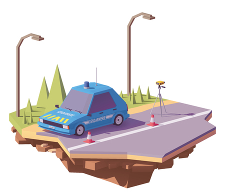 French police car controlling speed with radar speed gun on the road. Illustration