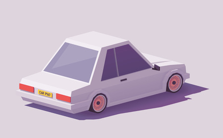 Vector low poly classic coupe car