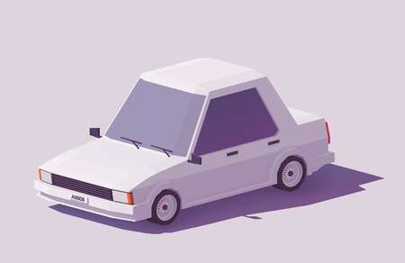 Vector low poly classic sedan car Illustration