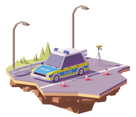 Vector low poly German police car controlling speed with radar speed gun on the road