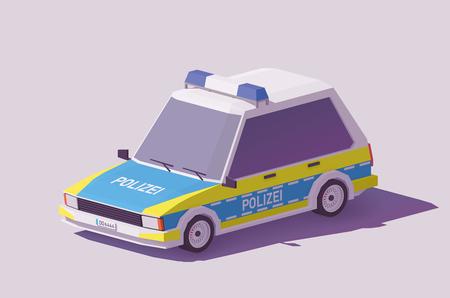 벡터 낮은 폴리 클래식 독일 경찰 차