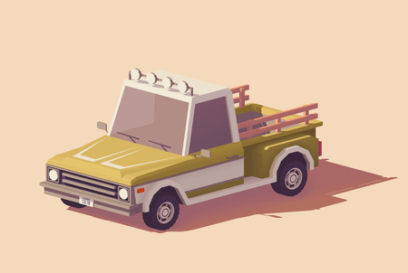 Vector low poly classic pickup truck