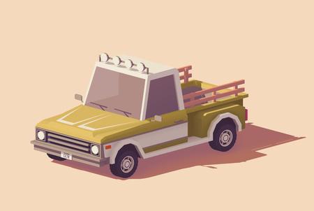 벡터 낮은 폴리 클래식 픽업 트럭