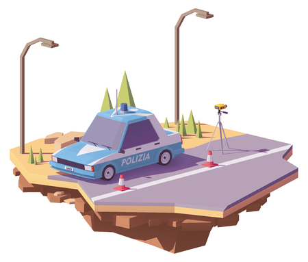 Low poly Italian police car controlling speed with radar speed gun on the road.