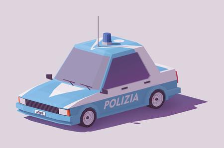 낮은 폴리 클래식 이탈리아어 경찰 차. 일러스트