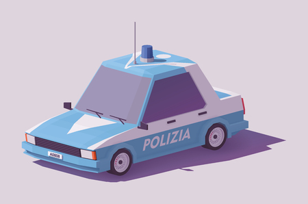 Low poly classic Italian police car.