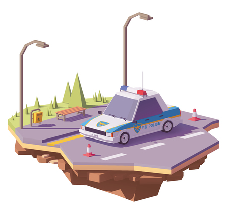 Low poly South Korean police car on the road. Illustration