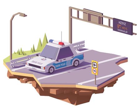 高速道路上のベクトル低ポリトルコ警察車  イラスト・ベクター素材