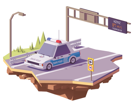 Vector low poly Turkey police car on the highway
