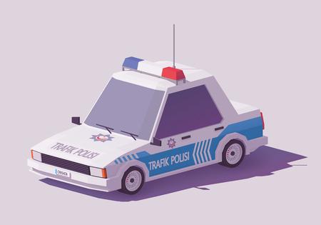 Vector low poly classic Turkey police car