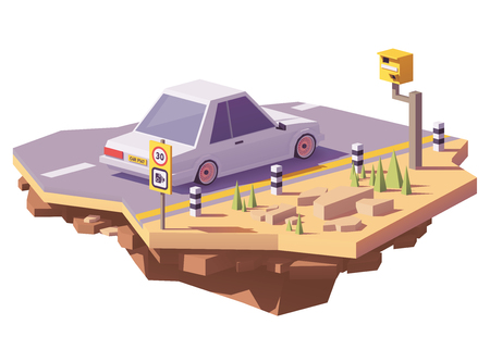 Low poly radar speed camera on the road and a car. 矢量图像