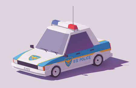 Vector low poly classic South Korean police car Stock Illustratie