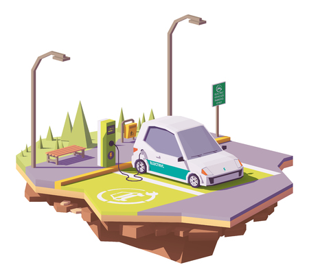 Vector low poly electric car and electric vehicle charging station