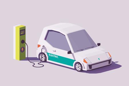 Vector de baja poli coche eléctrico y estación de carga de vehículos eléctricos