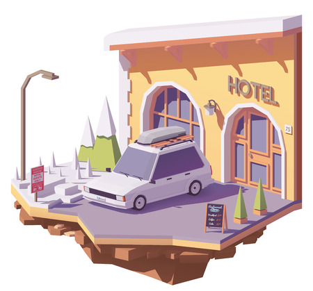 Vector low poly station wagon car with roof rack cargo box near on the hotel parking and hotel entrance