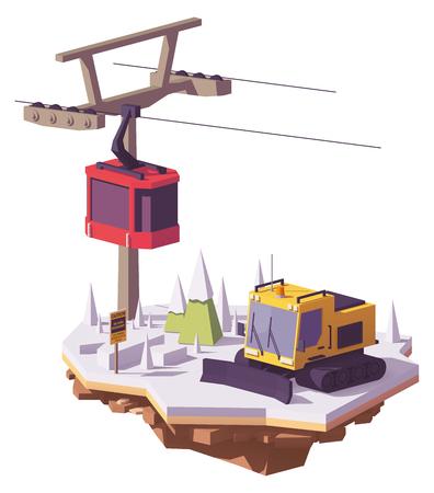 Vector lage polysneeuwcat of sneeuw groomer en skiliftkabelwagen bij een skitoevlucht