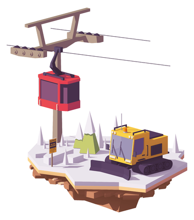 Vector low poly snowcat or snow groomer and ski lift cable car at a ski resort