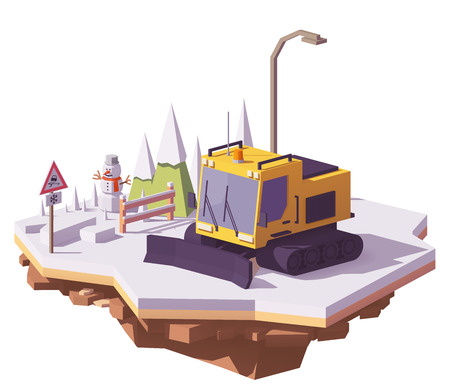 Vector low poly snowcat or snow groomer prepares the ski slope at the ski resort Ilustração
